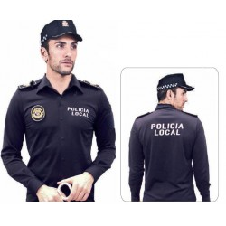 Polo  Camisa policia Azul manga Larga